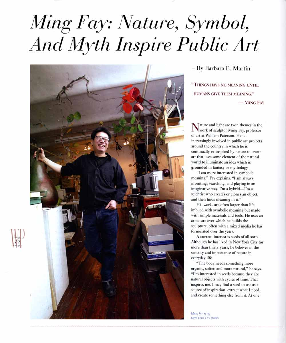 Ming Fay: Nature, Symbol, and Myth Inspire Public Art, article, pg 1
