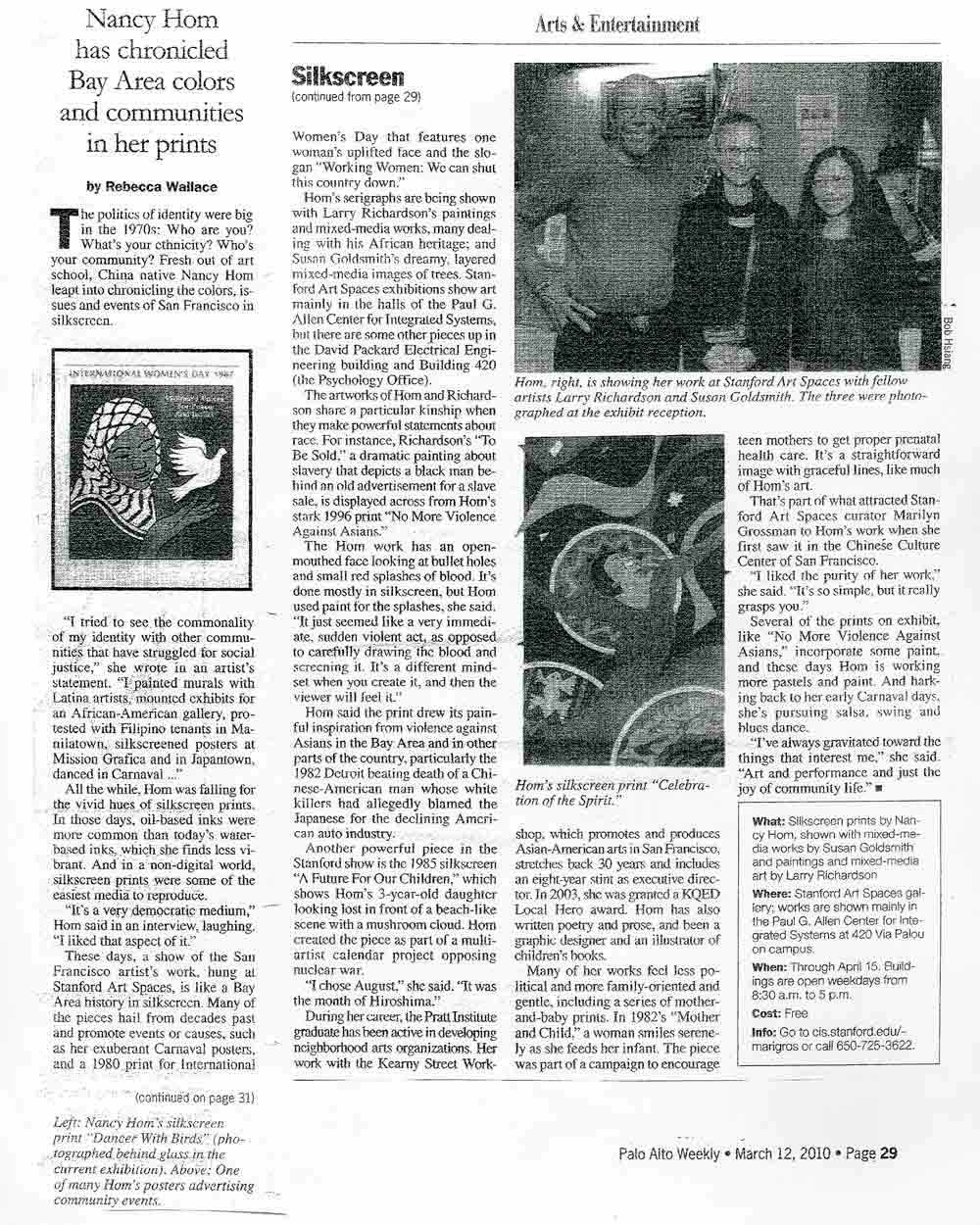 "Article ""Nancy Hom has chronicled Bay Area colors and communities in her prints"" by Rebecca Wallace, 2010"