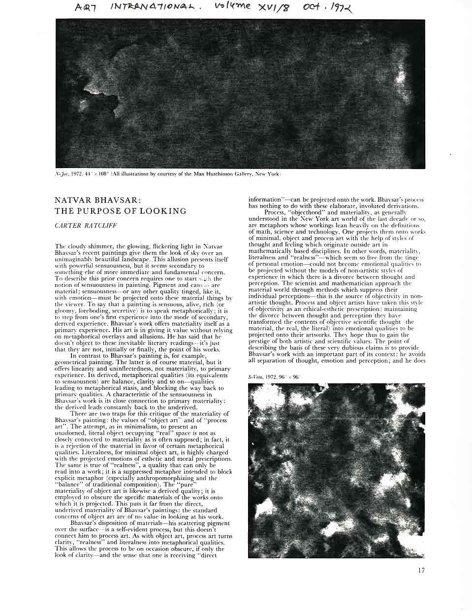 Natvar Bhavsar: The Purpose of Looking, article, pg 1