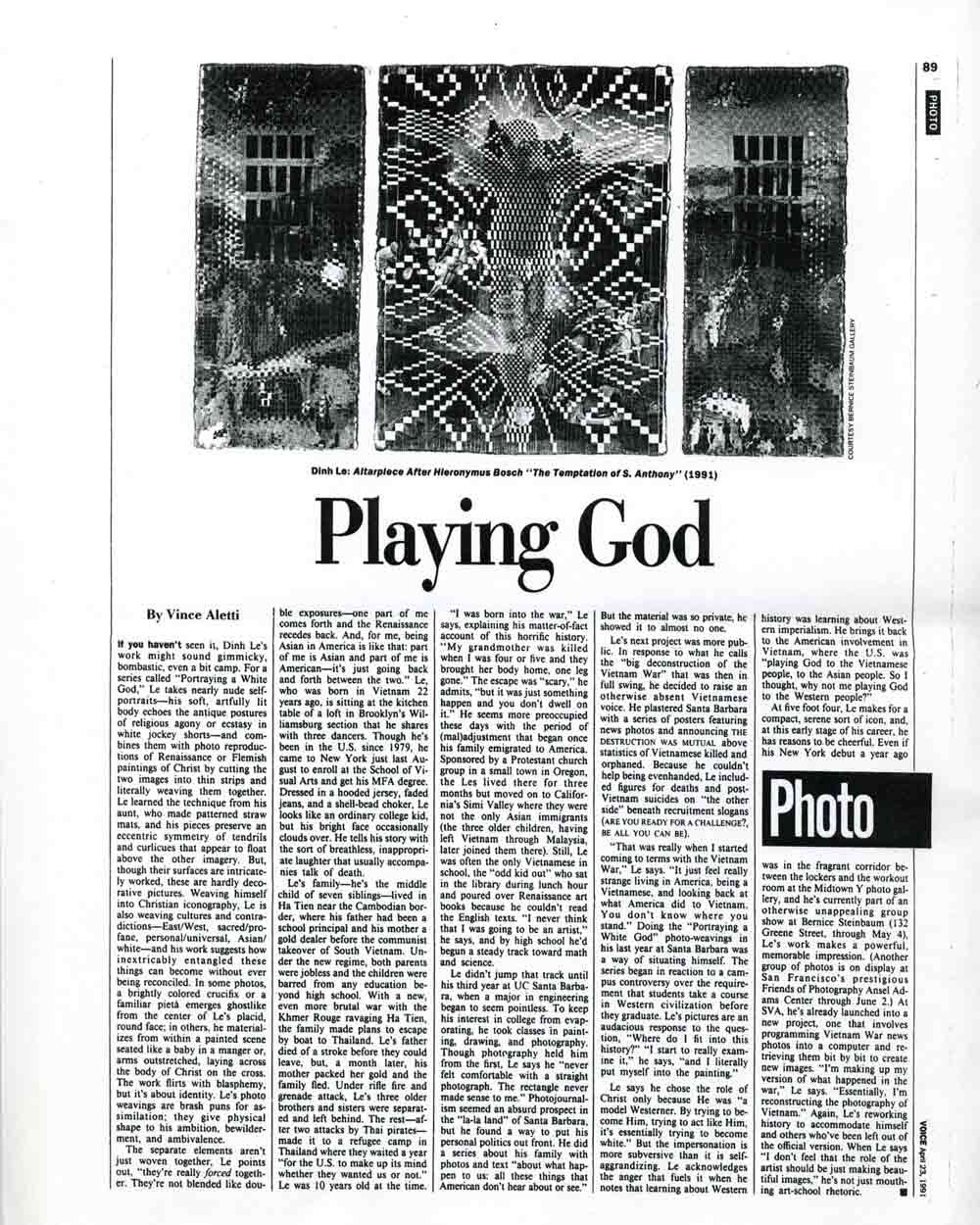 Playing God article