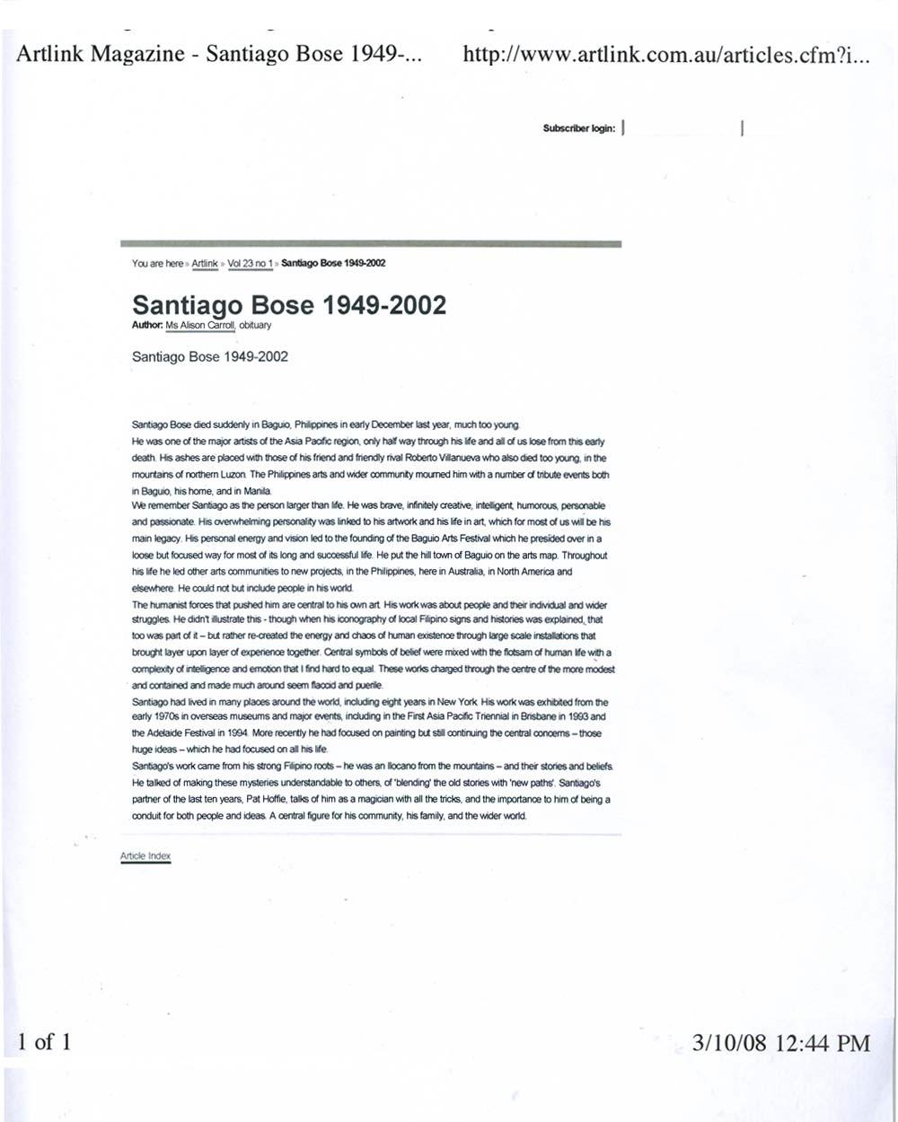 Santiago Bose 1949-2002