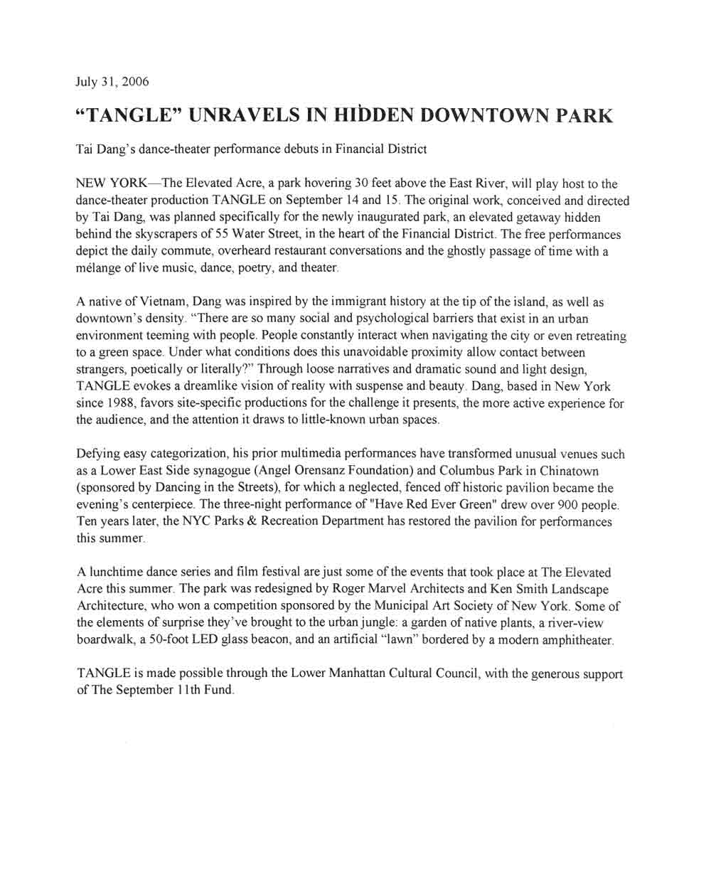 'Tangle' Unravels in Hidden Downtown Park, article