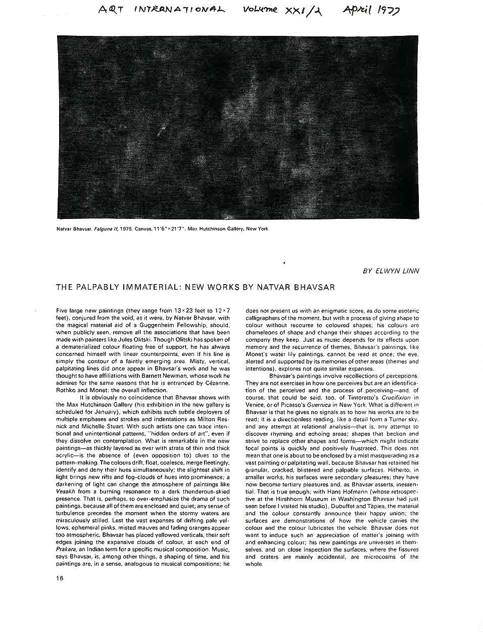 The Palpably Immaterial: New Works by Natvar Bhavsar, article, pg 1