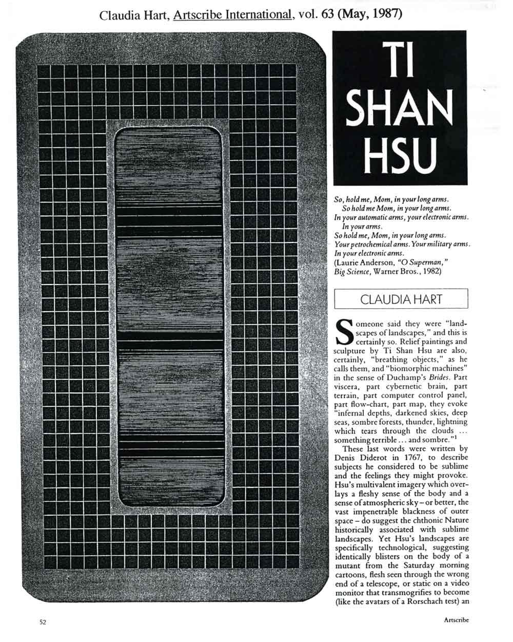Tishan Hsu, article in Artscribe International, pg 1