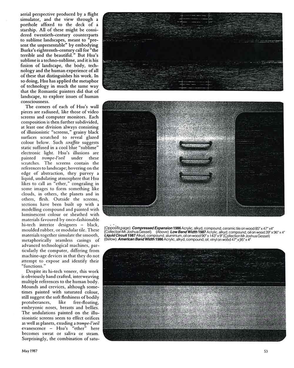 Tishan Hsu, article in Artscribe International, pg 2