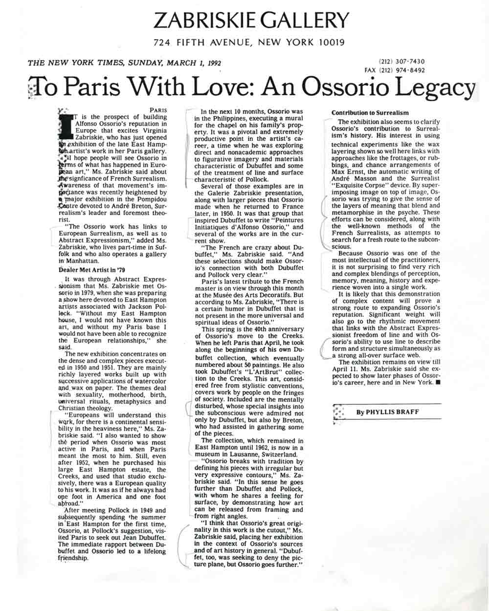 To Paris With Love: An Ossorio Legacy