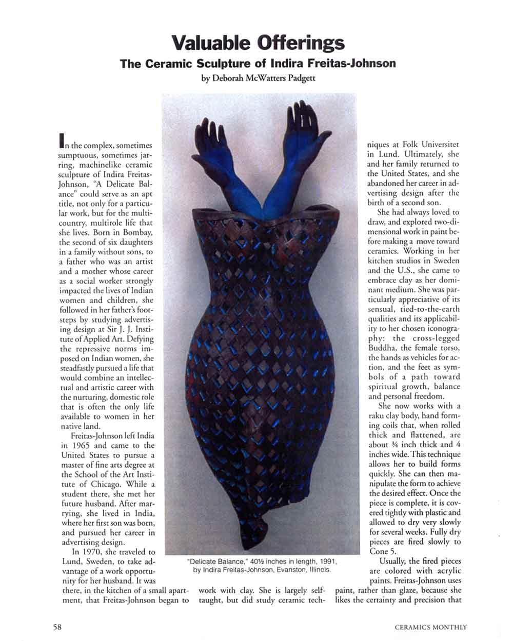 Valuable Offerings: The Ceramic Sculpture of Indira Freitas-Johnson, article, pg 1