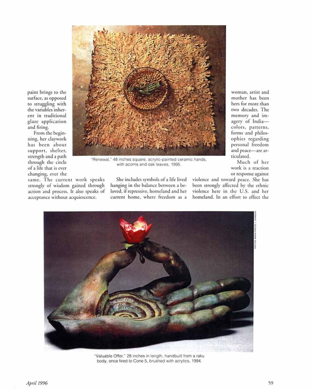 Valuable Offerings: The Ceramic Sculpture of Indira Freitas-Johnson, article, pg 2