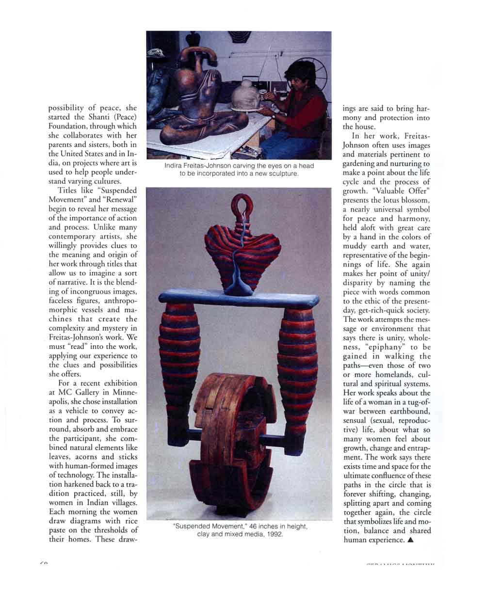 Valuable Offerings: The Ceramic Sculpture of Indira Freitas-Johnson, article, pg 3
