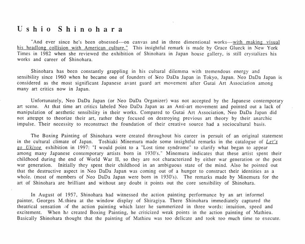 Ushio Shinohara's biography, pg 1