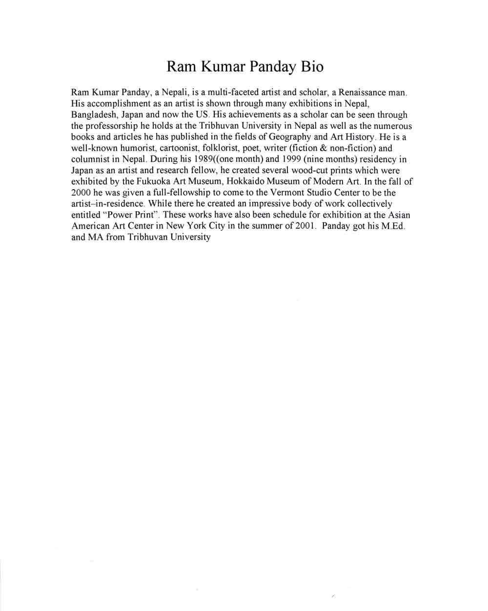 Ram Kumar Panday's Biography
