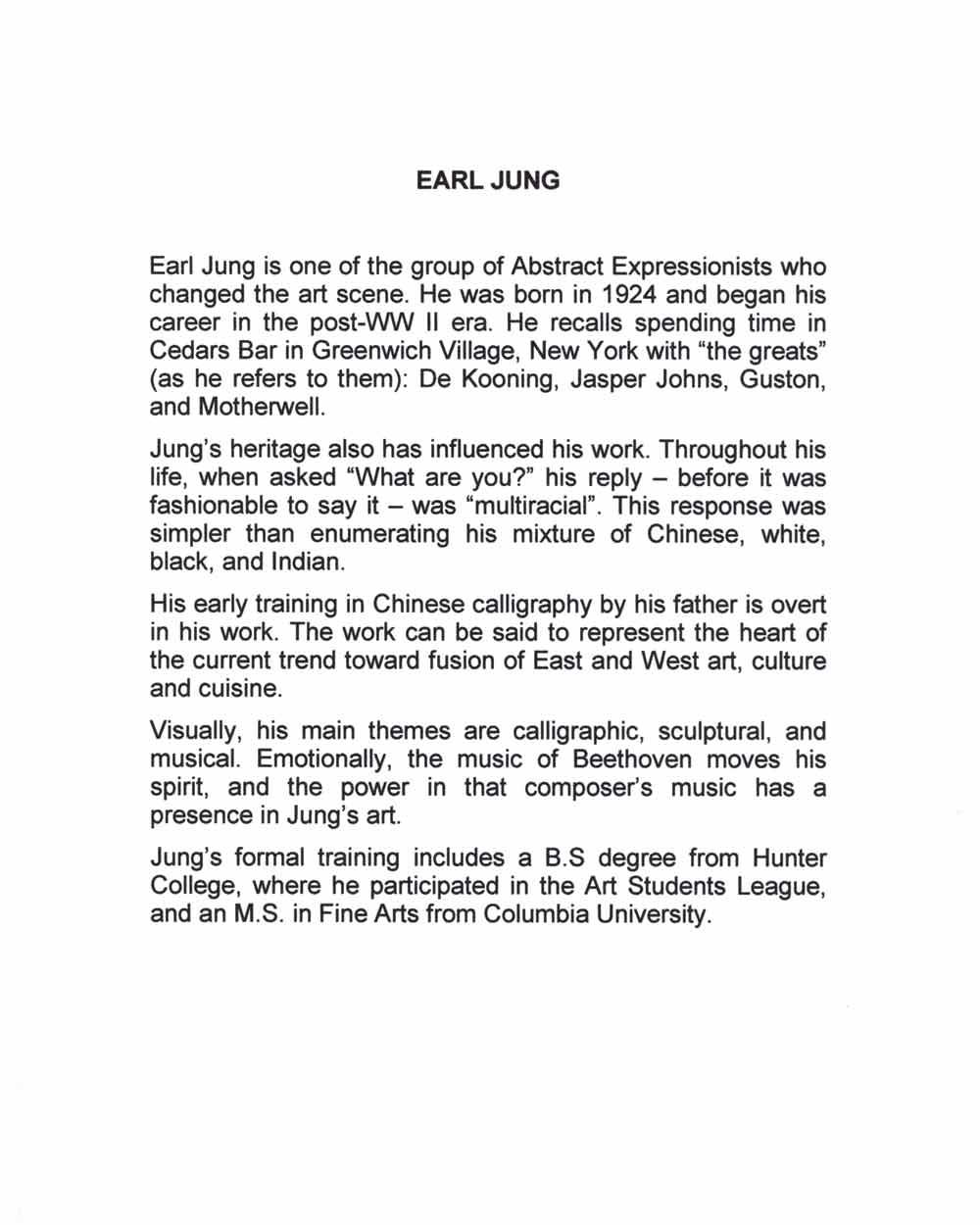 Earl Jung's Biography