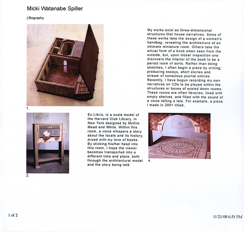 Micki Watanabe Spiller's Artist Biography, pg 1