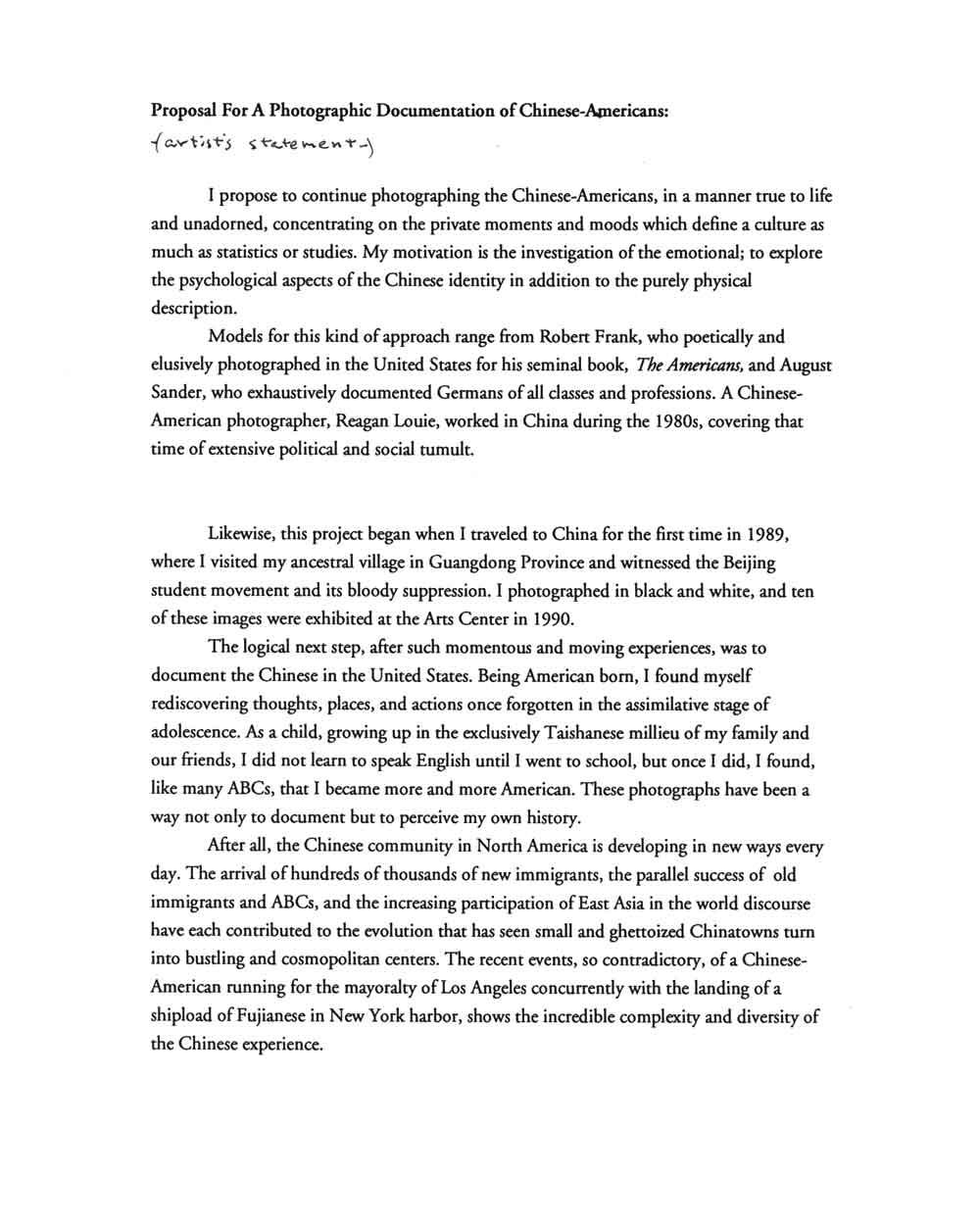 Alan Chin's Artist Proposal, pg 1