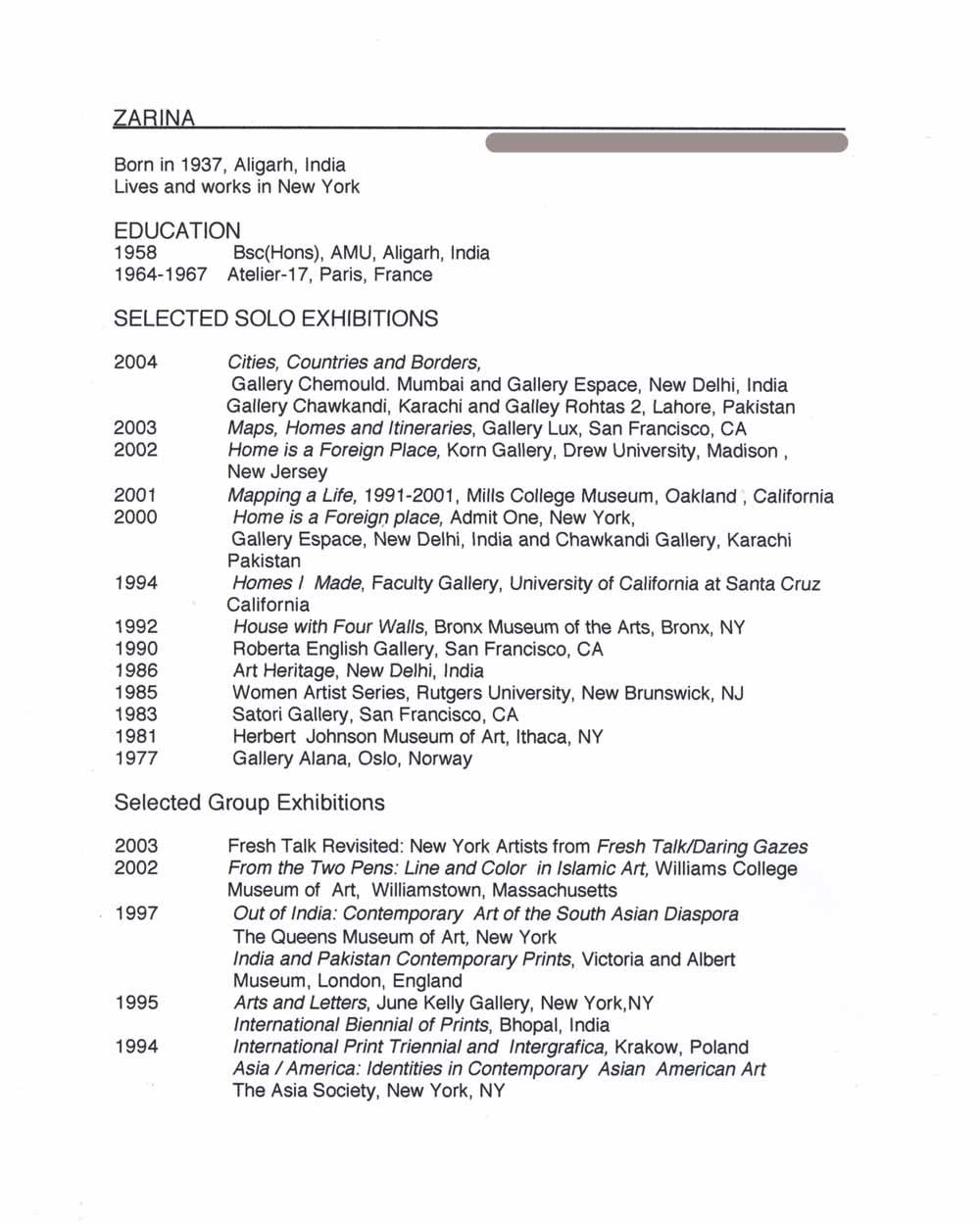 Zarina Hashimi's resume, pg 1