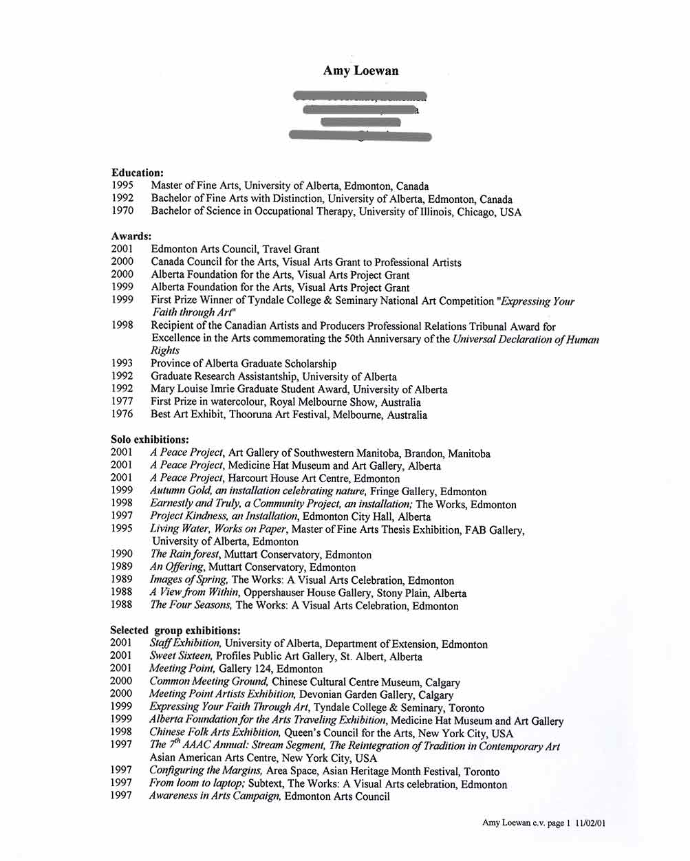 Amy Loewan's Resume, pg 1