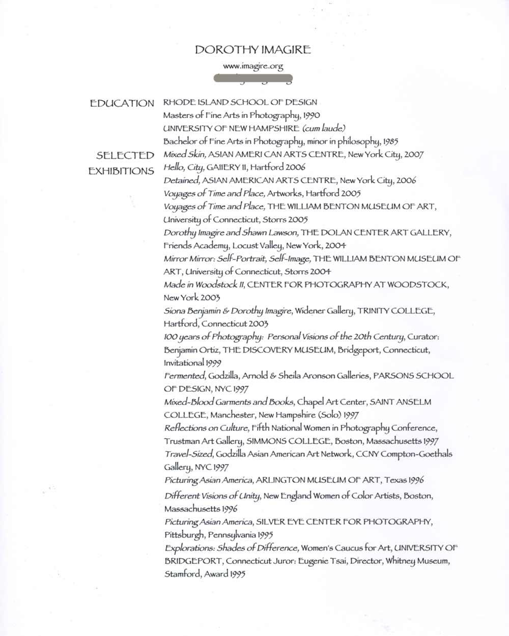 Dorothy Imagire's Resume, pg 1