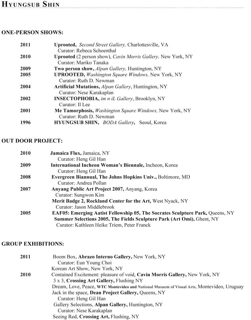 Artist Resume, 2011