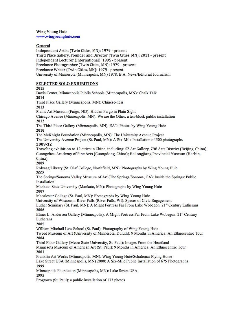 Artist Resume, 2015