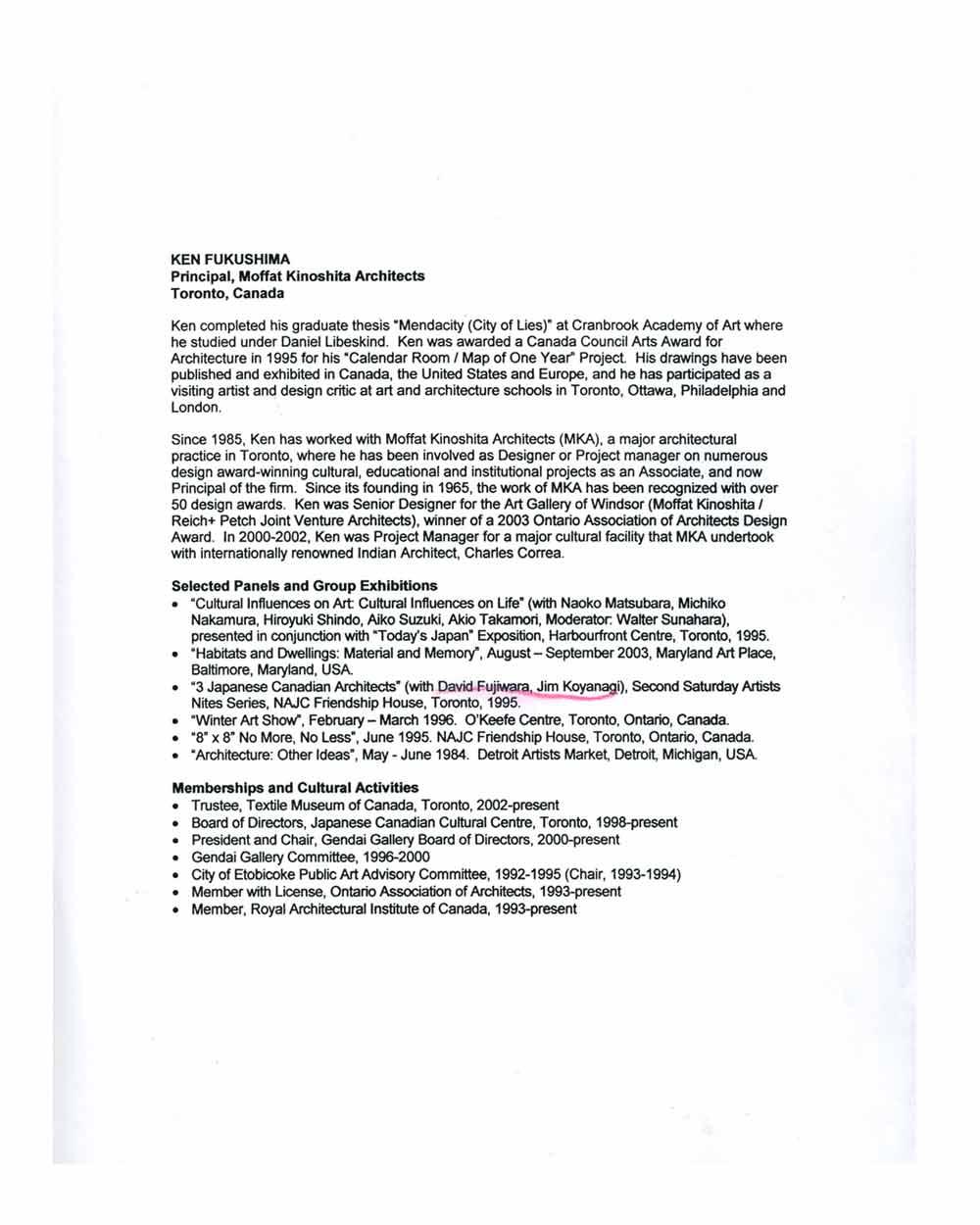 Ken Fukushima's Resume