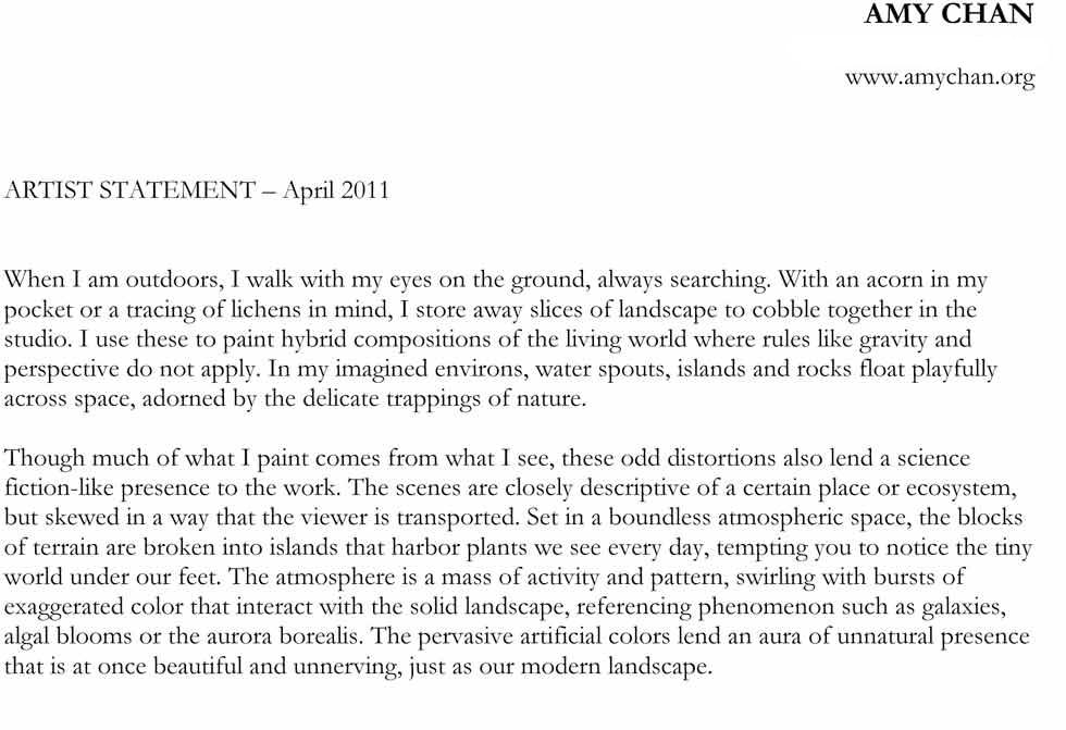 Artist Statement, 2011