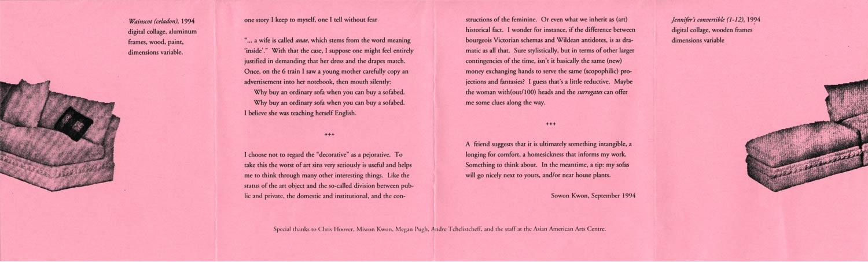 Sowon Kwon's Artist Statement on flyer, pg 2