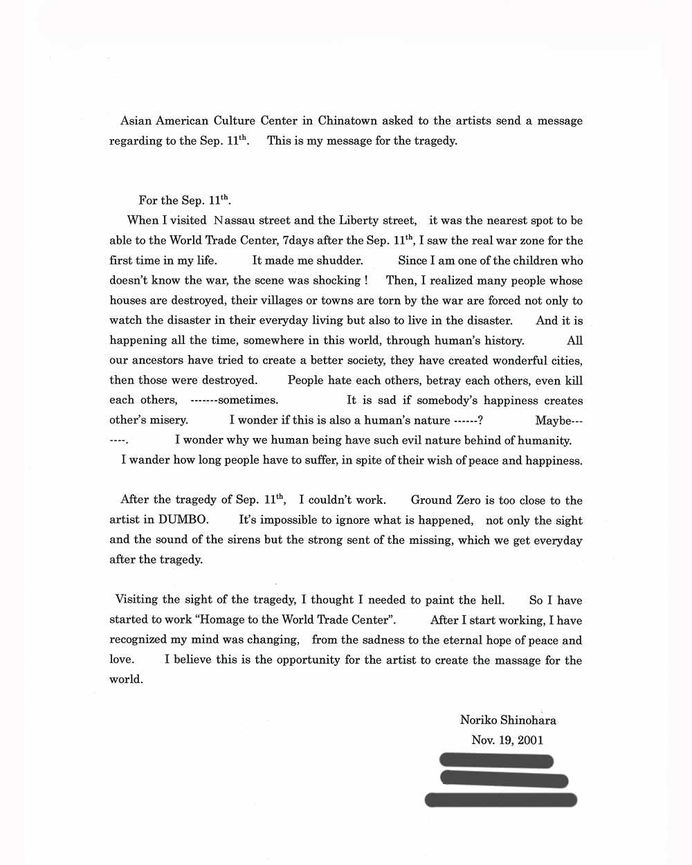 Noriko Shinohara's Artist Statement, 2001
