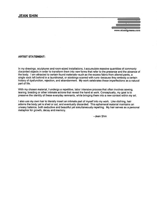 Jean Shin's Artist Statement