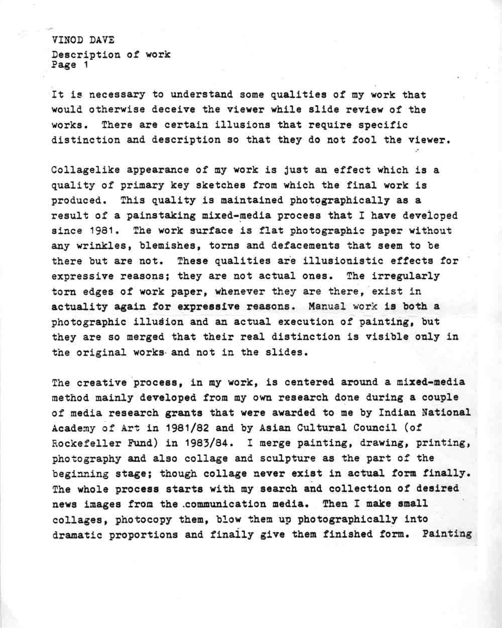 Vinod Dave's Artist Statement, pg 2