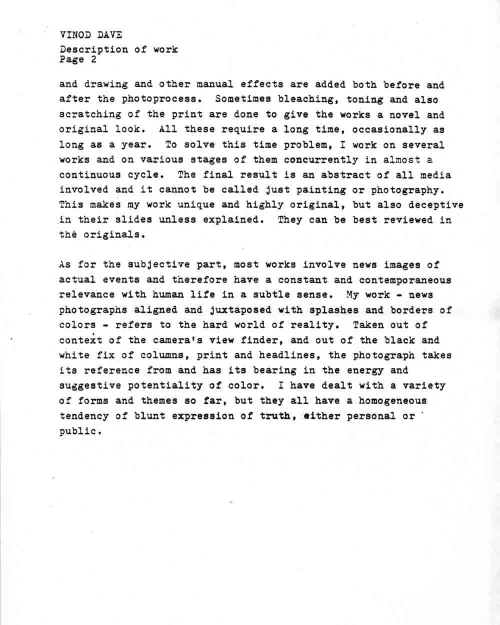 Vinod Dave's Artist Statement, pg 3