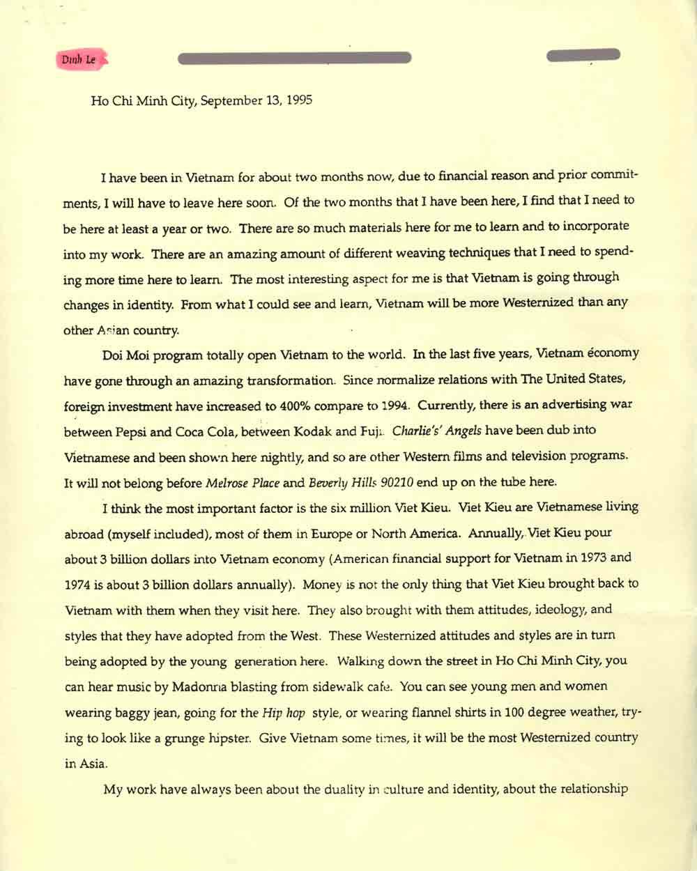 Dinh Q. Le's Artist Statement, pg 1