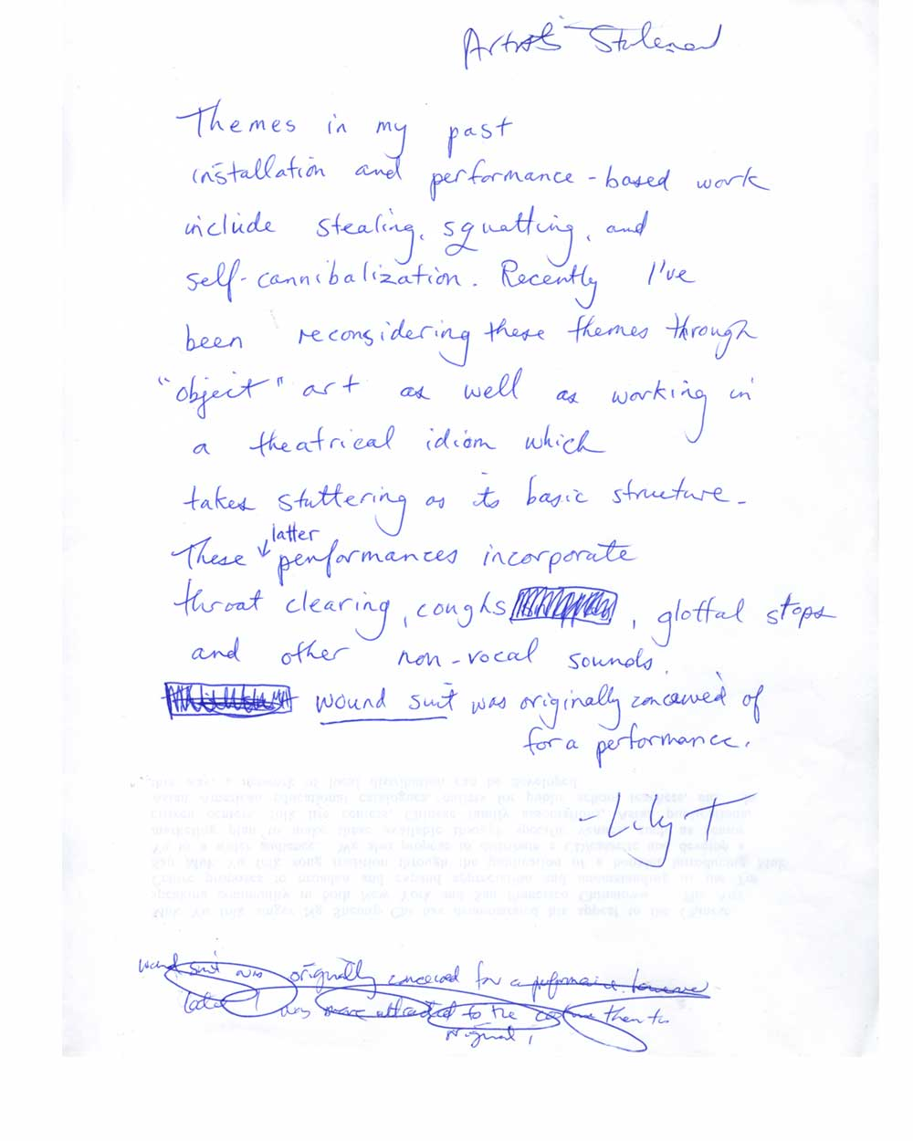 Lily Tsong's Artist Statement, hand written