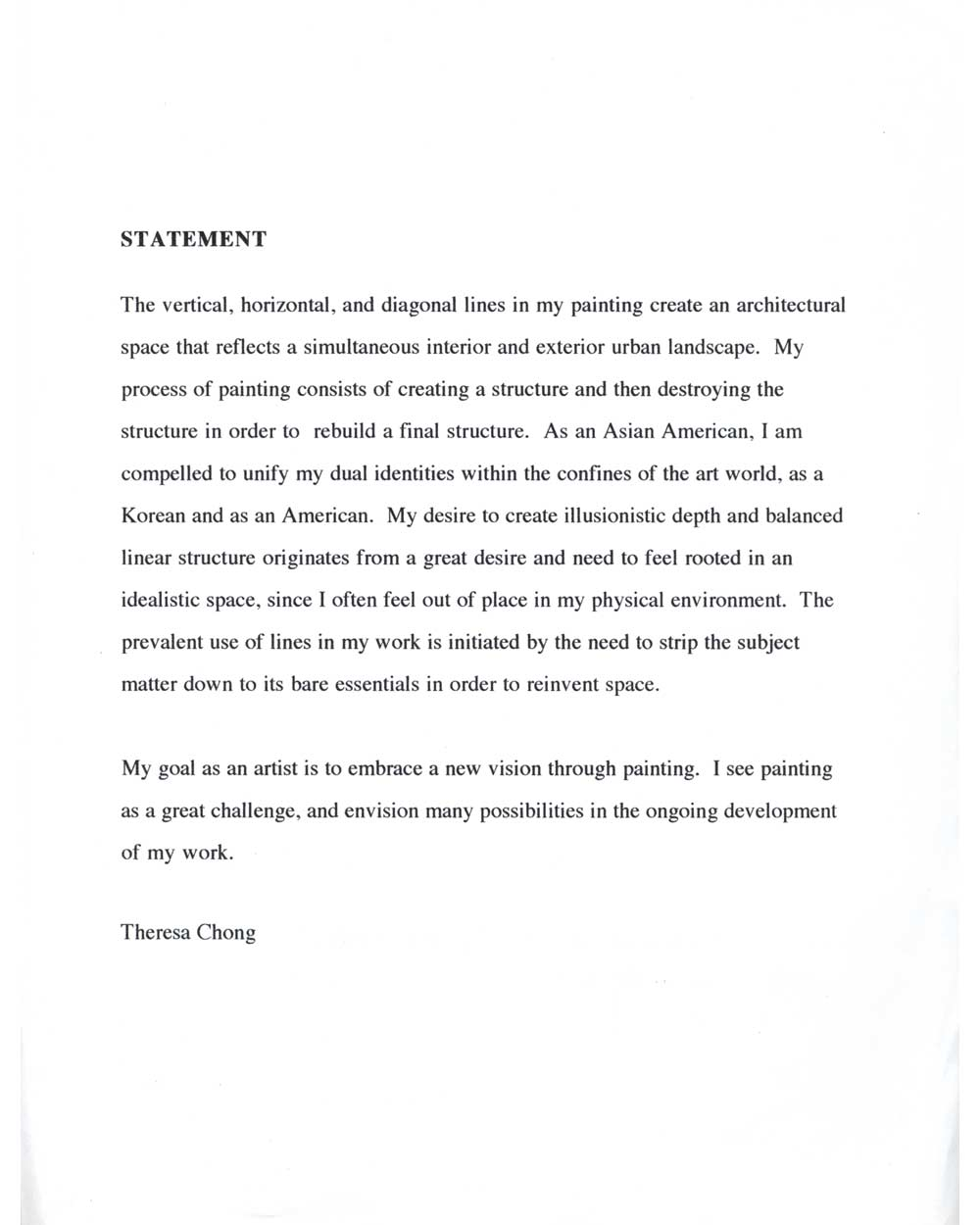 Theresa Chong's Artist Statement, pg 1