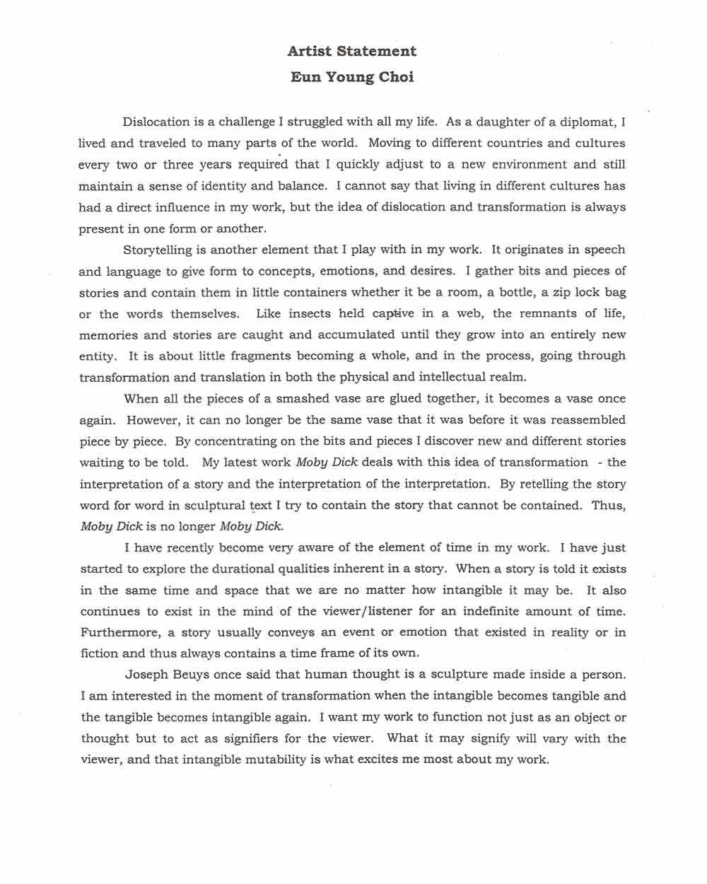 Eun Young Choi's artist statement