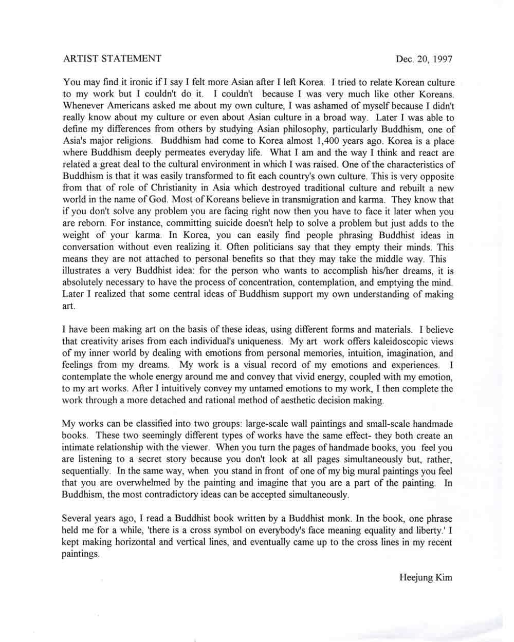 Heejung Kim's Artist Statement, 1997