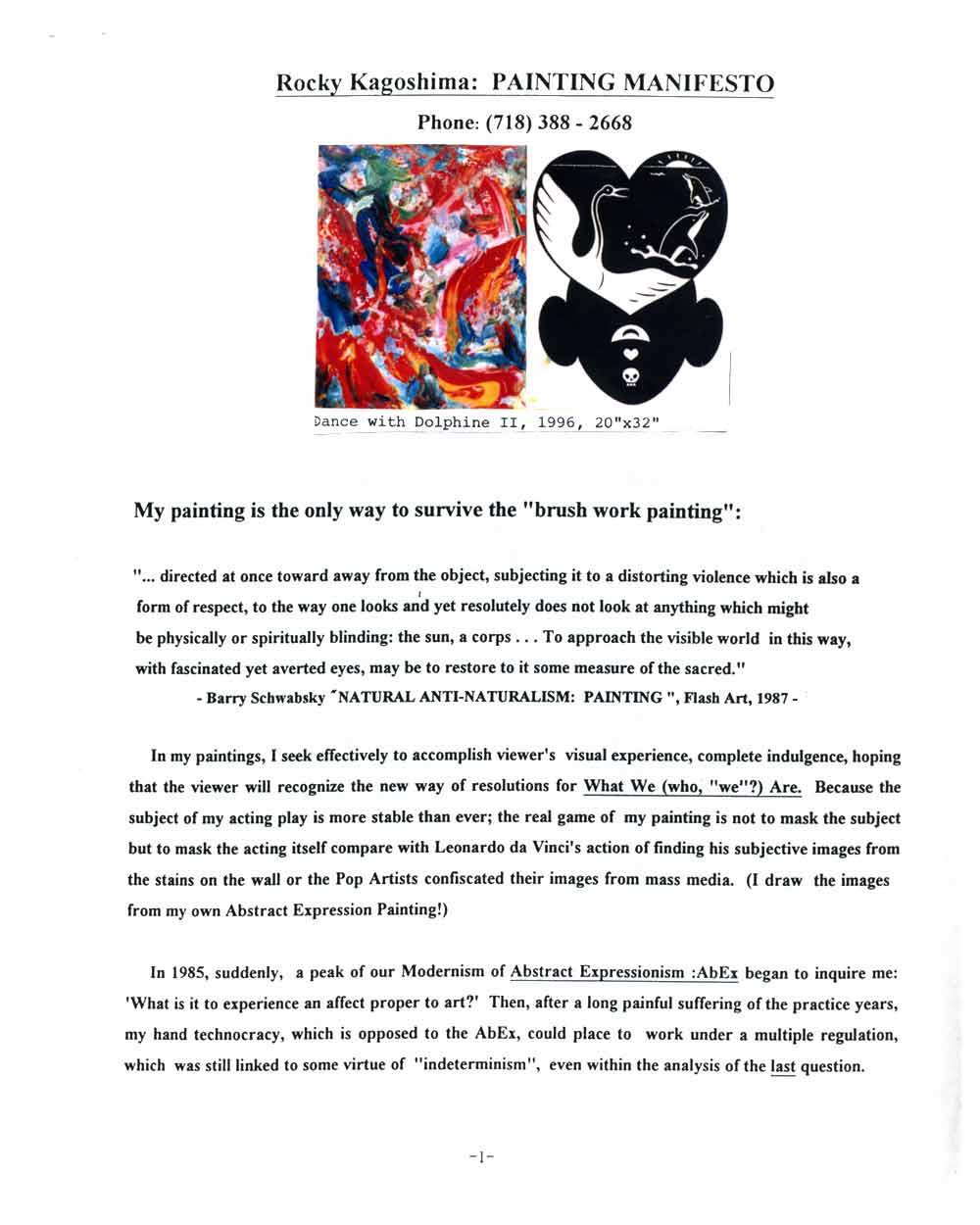 Rocky Kagoshima's Artist Statement, pg 1