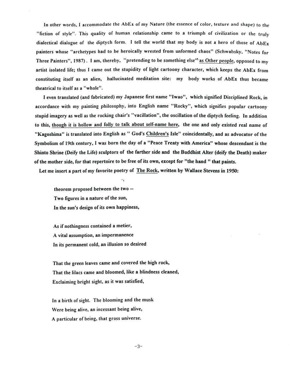 Rocky Kagoshima's Artist Statement, pg 3