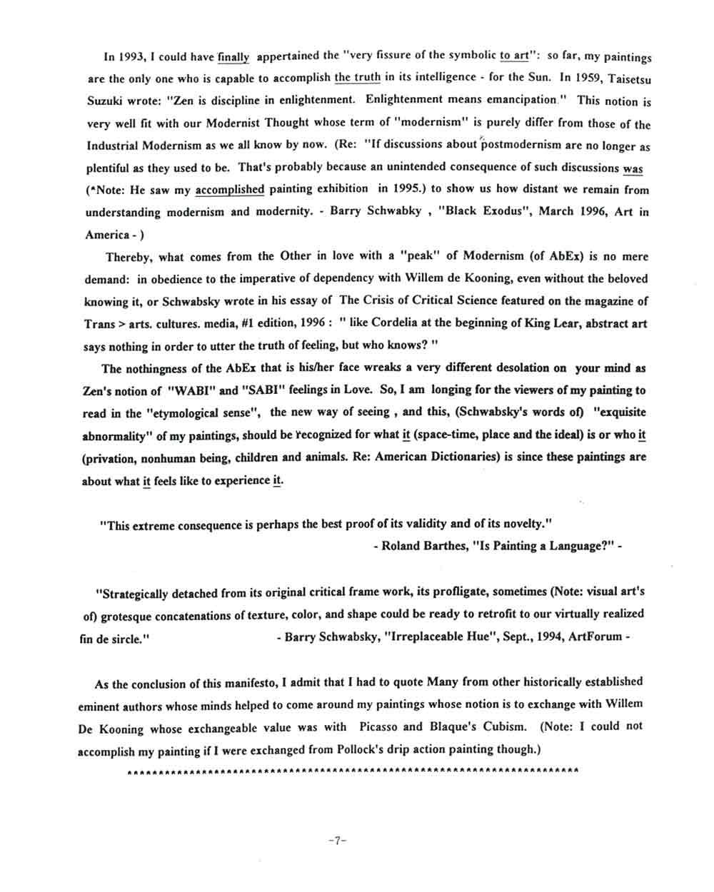 Rocky Kagoshima's Artist Statement, pg 7