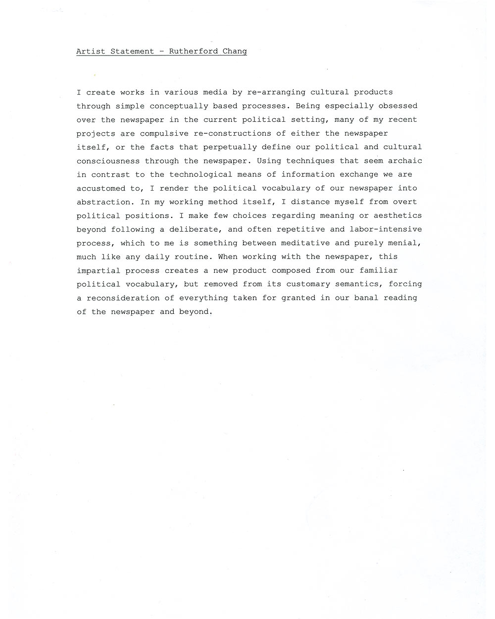 Rutherford Chang's artist's statement