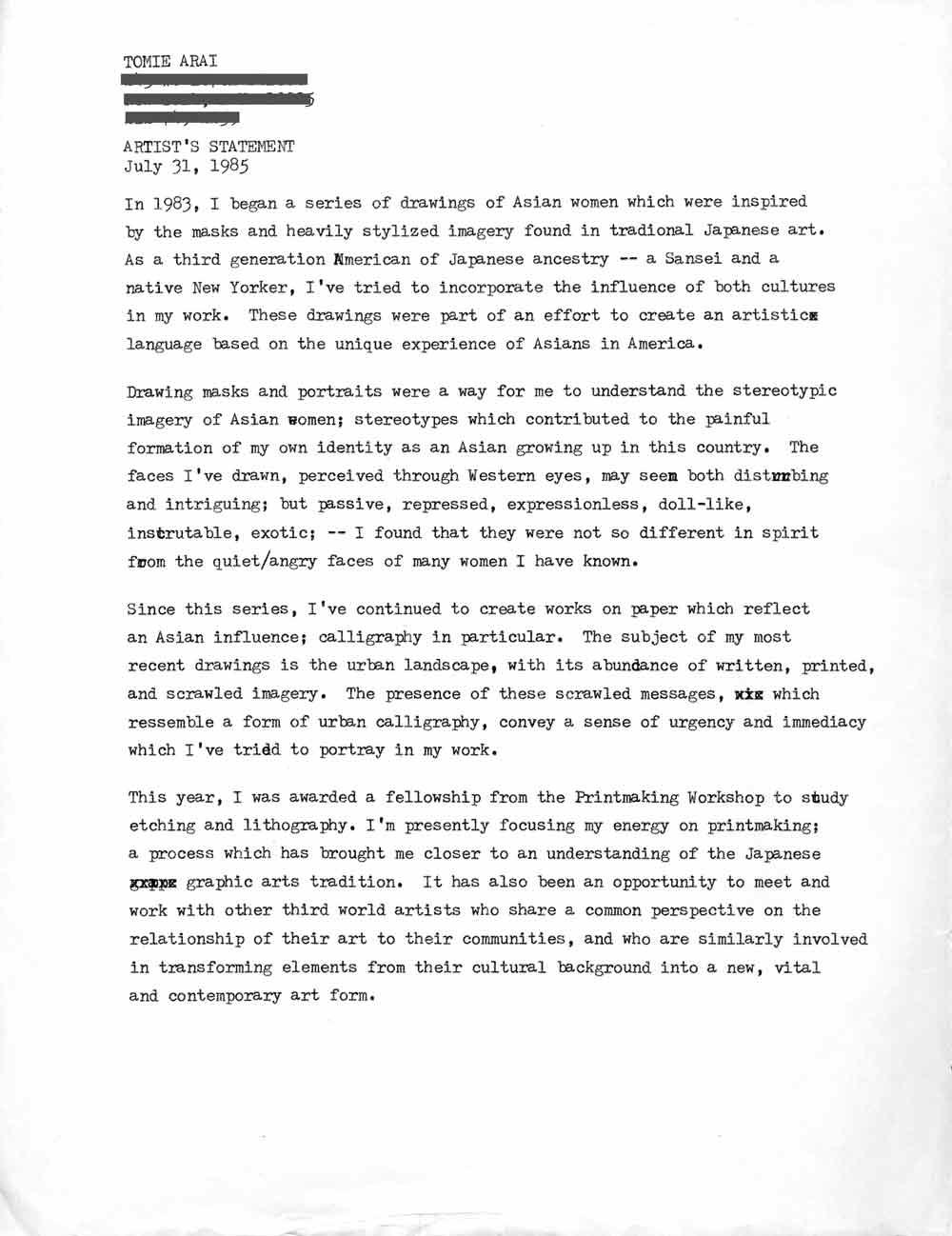 Tomie Arai's Artist Statement, 1