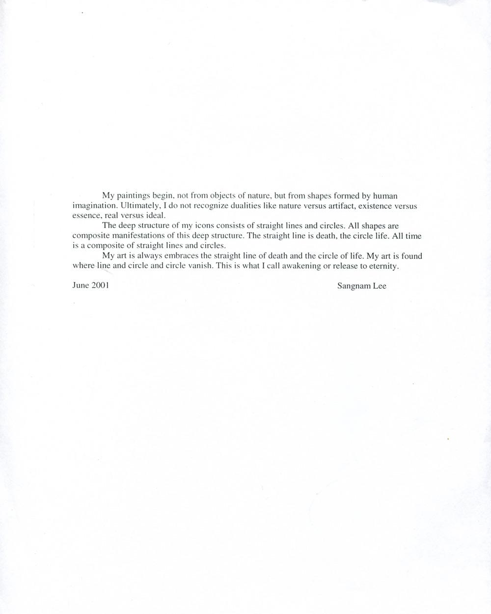 Sang Nam Lee's Artist Statement, June 2001
