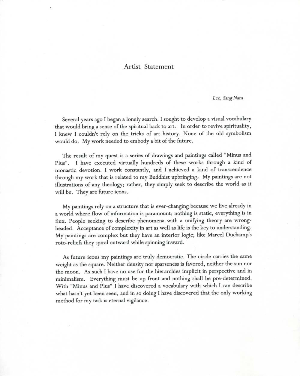 Sang Nam Lee's Artist Statement, undated