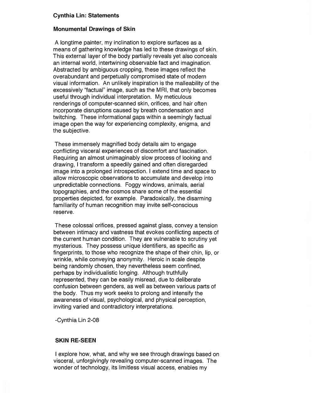 Cynthia Lin's Artist Statement (2), pg 1