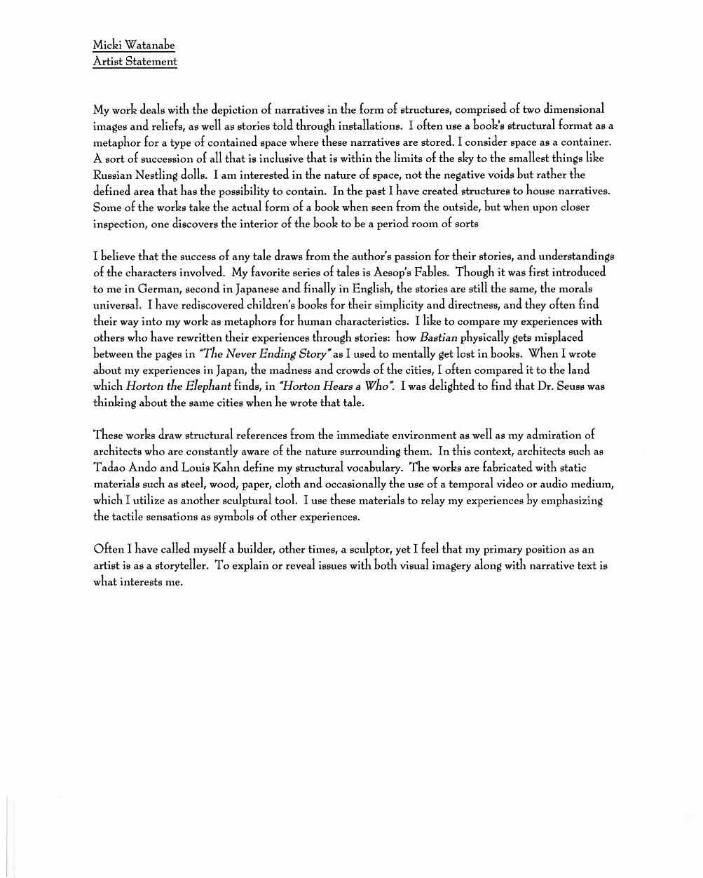 Micki Watanabe Spiller's Artist Statement (1)
