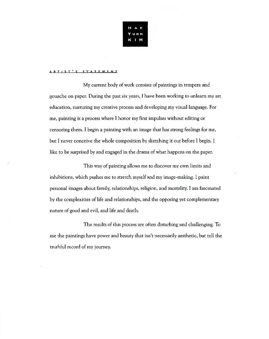 Hae Yuon Kim's Artist Statement