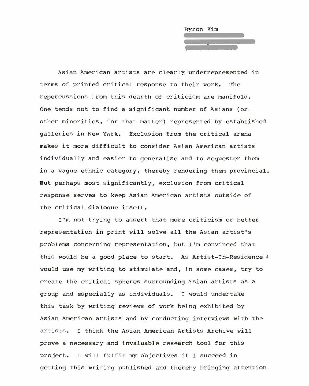 Byron Kim's Artist Statement, pg 1