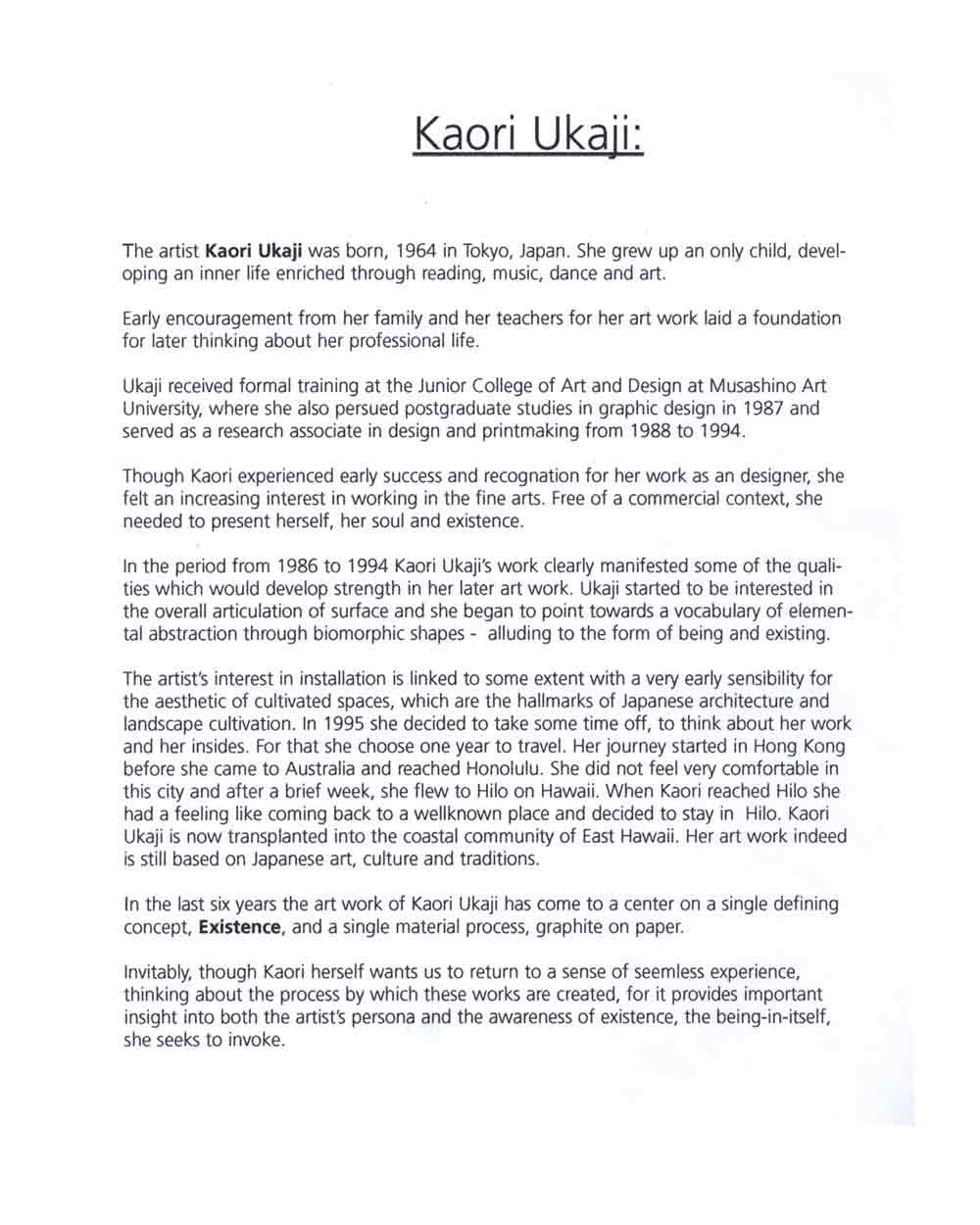 Kaori Ukaji's artist statement, pg 1