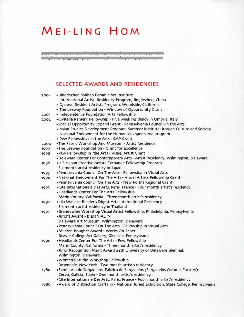 Mei-Ling Hom's Resume, pg 1