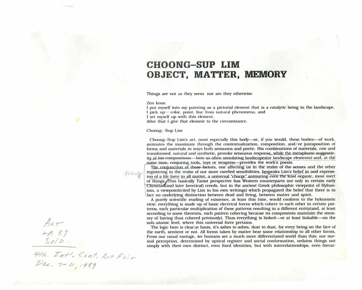 Object, Matter, Memory, essay, pg 1