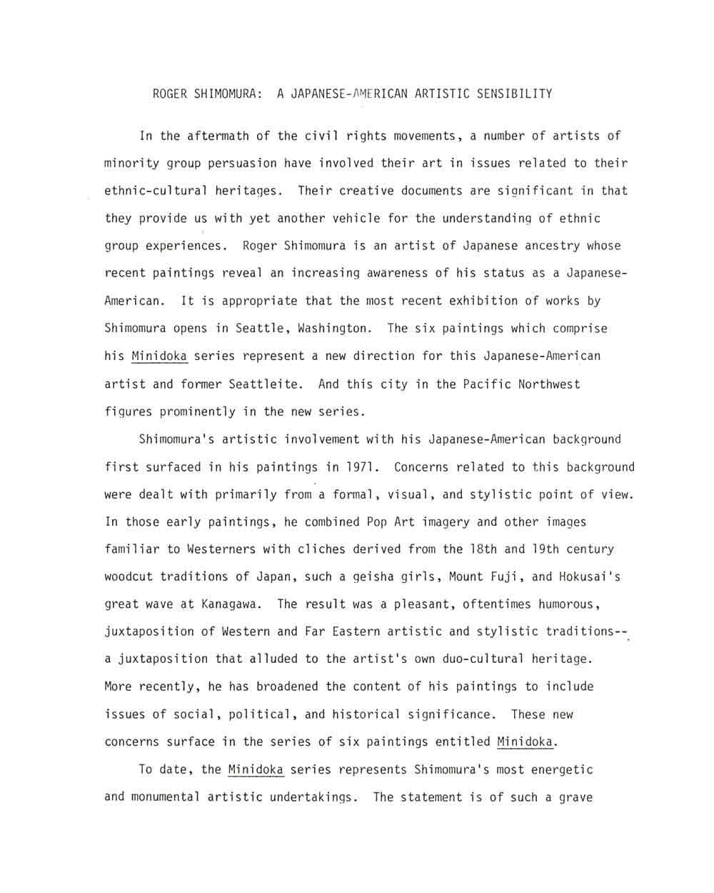 A Japanese-American Artistic Sensibility, pg 1